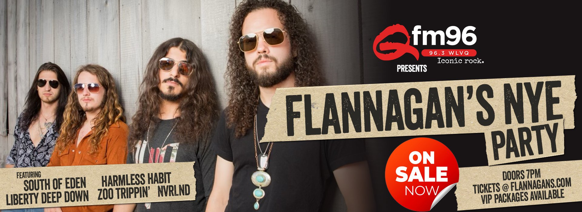 Qfm presents Flannagan's NYE Party with South of Eden and more!